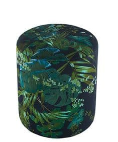 Boho&Co Leaferie velvet drum stool - Green on Black